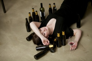 Drunk girl sleeping