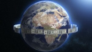 Money encircling earth
