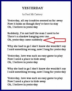 Yesterday lyrics with arrow
