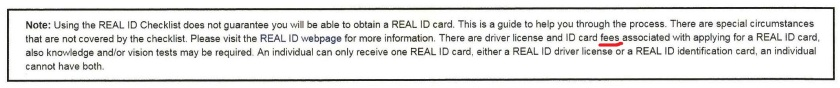 Real ID Fee Underline