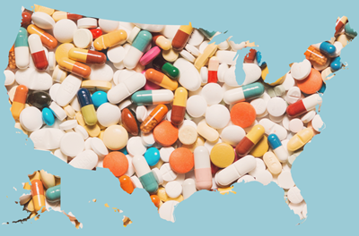 pills and u.s. map