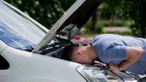 looking under car hood