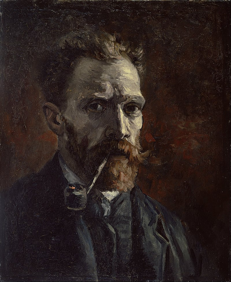 Vincent_van_Gogh_-_Self-portrait_with_pipe_-_Google_Art_Project 1886