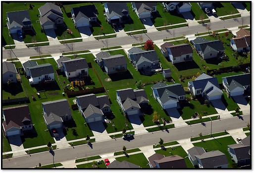 tract homes with lawns