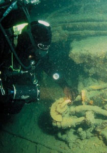 Diver exploring the wreck