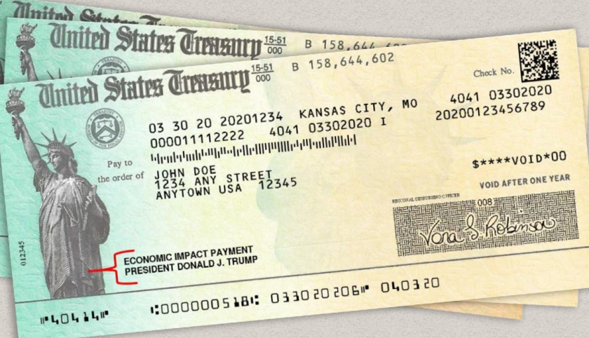 a stack of three example u s treasury checks for stimulus paymen